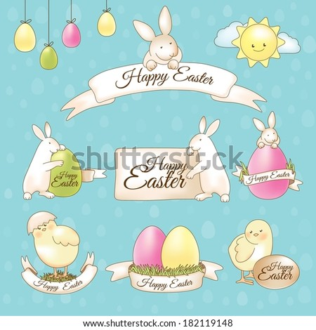 stickers of easter bunnies eggs basket and a chick vector illust stock photo © cidepix