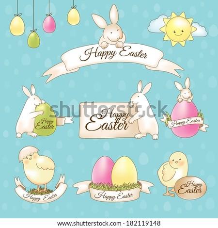 kellemes · húsvétot · matricák · stílus · gyűjtemény · tavasz · ünnep - stock fotó © cidepix