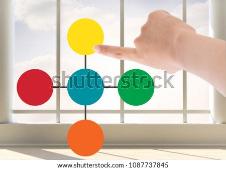 Hand and Colorful mind map over window background Stock photo © wavebreak_media