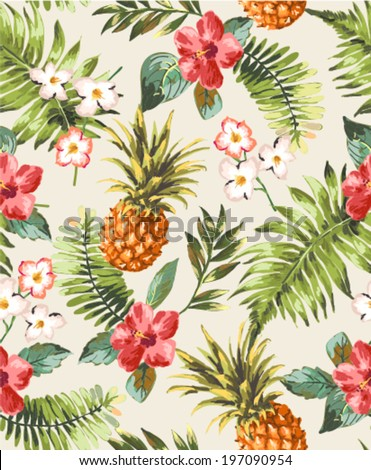 tropic vintage pattern with pineapple and leaves vector retro shiny design textures stock photo © frimufilms