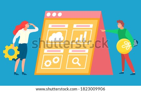 Business woman interacting with people in cogs graphics against office background Stock photo © wavebreak_media