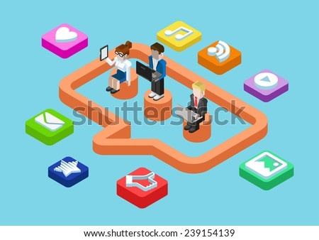 People on laptops and tablet with Shares and likes status bars Stock photo © wavebreak_media