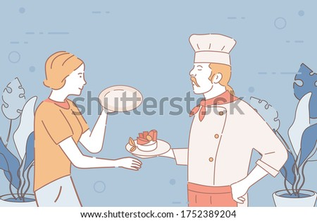 Férfi szakács tányér előkészített étel pincérnő Stock fotó © wavebreak_media