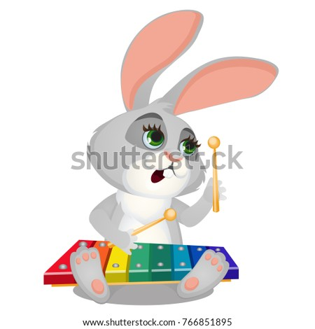 Small wild forest animal play on musical instrument. Bunny with xylophone isolated on white backgrou Stock photo © Lady-Luck