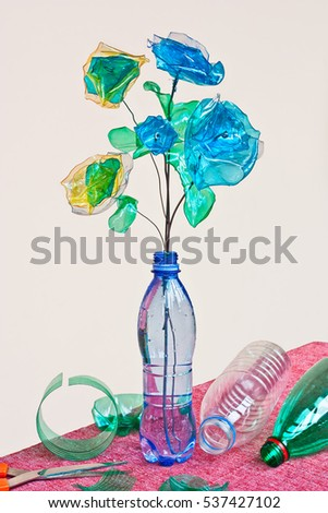 Flowers made from a plastic bottle. plastic bottle recycled. Waste recycling concept Stock photo © galitskaya