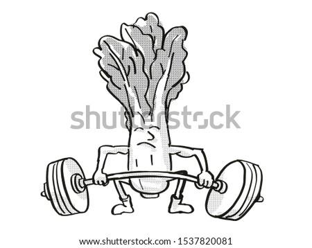 Bok choy or pak choi Healthy Vegetable Lifting Barbell Cartoon Retro Drawing Stock photo © patrimonio
