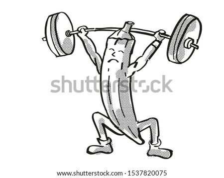 Okra ladies' fingers or ochro Healthy Vegetable Lifting Barbell Cartoon Retro Drawing Stock photo © patrimonio