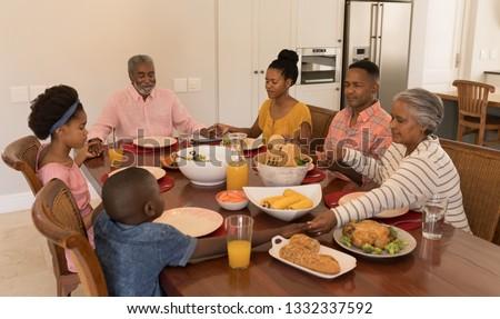 Ver africano americano família discutir refeição Foto stock © wavebreak_media