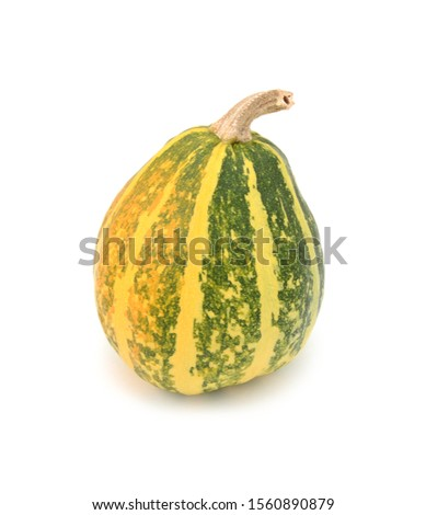 Half-ripe ornamental gourd with yellow and green stripes Stock photo © sarahdoow