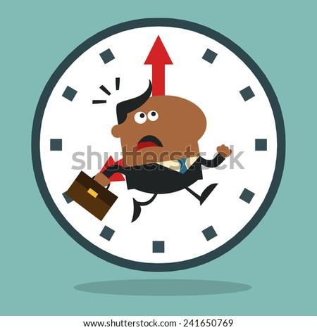 Africano americano gerente corrida passado relógio moderno Foto stock © hittoon