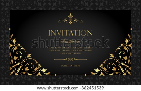 Exclusive invitation card design - gold and black vintage style Stock photo © blue-pen