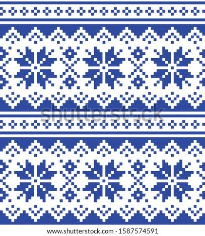 Christmas winter vector seamless blue pattern, inspired by Sami people, Lapland folk art design, tra Stock photo © RedKoala