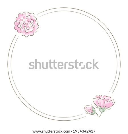 Rose flower round card Vector line art. Vintage retro style wedding invitation or greetings Stock photo © frimufilms
