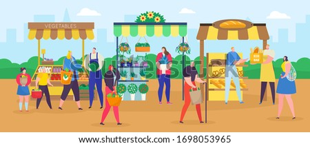 Man Walking from Market with Bread in Bag Vector Stock photo © robuart