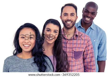 front view of happy young multi ethnic businesswomen with digital table looking at camera in modern stock photo © wavebreak_media