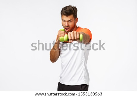 Endurance, workout and wellbeing concept. Handsome assertive young male athlete in sportswear workou Stock photo © benzoix