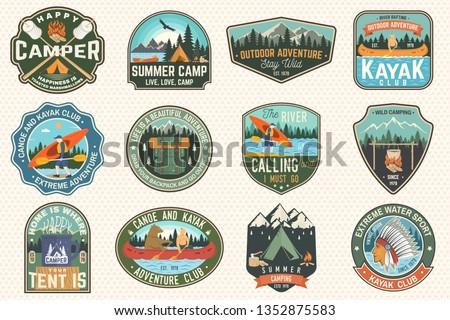 Vintage rafting aventura logos montana campamento Foto stock © JeksonGraphics