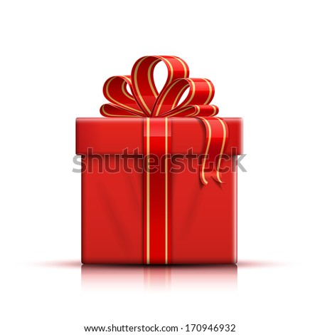Luxury holiday red gift box with silk ribbon and bow, christmas  Stock photo © Anneleven