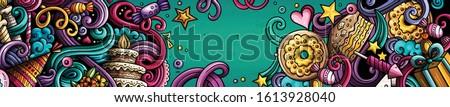 Vacaciones dibujado a mano garabato banner Cartoon detallado Foto stock © balabolka