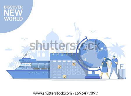 Banner of Travel concept to the ocean or sea. Travel plan, vacation accessories for trip. Stock photo © Illia
