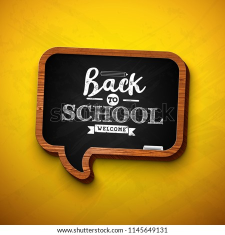 Back To School Sale Design With Graphite Pencil And Typography Letter On Black Chalkboard Background Stok fotoğraf © articular