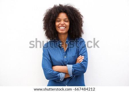 Kép boldog nő mosolyog áll keresztbe tett kar nő Stock fotó © deandrobot