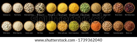 Banner of Collection set of beans and legumes. Bowls of various lentils Stock photo © Illia