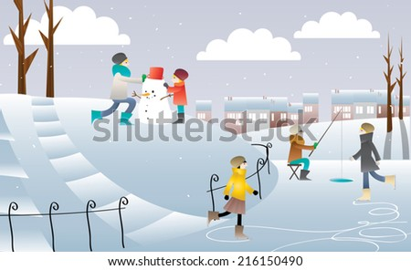 People Ice Skating, Women Playing by House Winter Stock photo © robuart