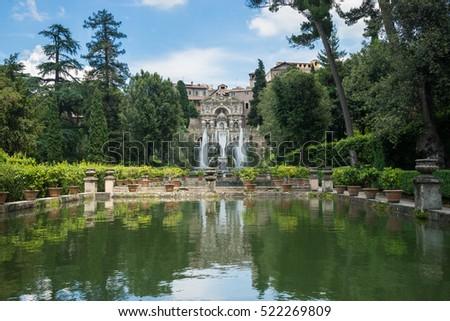 Famous Italian Renaissance garden. Tivoli Gardens. Parks and trees of Villa D'Este. Italy Stock photo © Zhukow