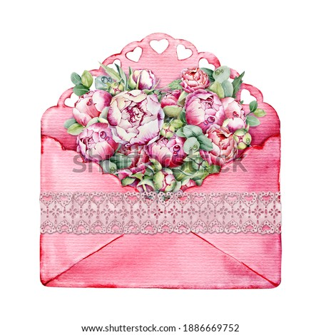 Watercolor open retro envelope with paper and peonies. Hand painted design element Stock photo © Natalia_1947