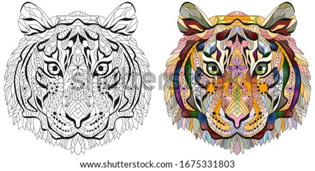 Zentangle tiger head. Hand drawn decorative vector illustration. Color and outline set Stock photo © Natalia_1947