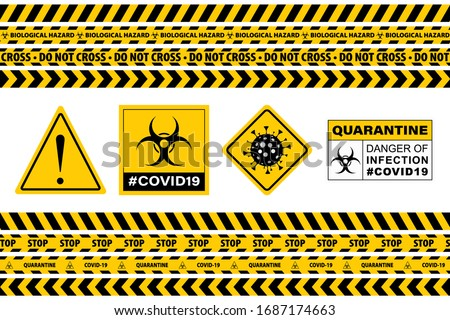 Warning sign with of quarantine on a police ribbon on the background of Rome Trevi Fountain in Rome, Stock photo © artjazz