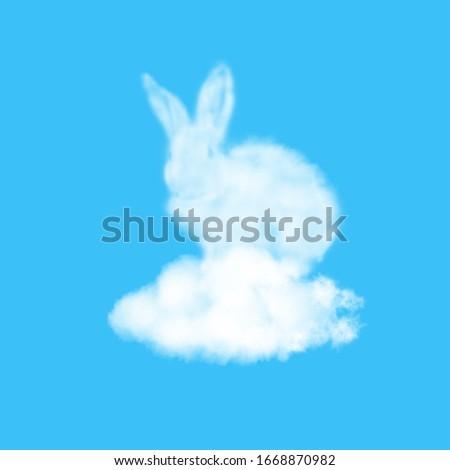 Forme pelucheux nuage lapin de Pâques nuageux ciel Photo stock © artjazz