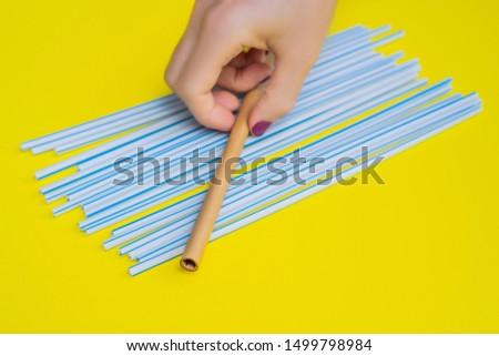 Bambù bere paglia vs usa e getta giallo Foto d'archivio © galitskaya