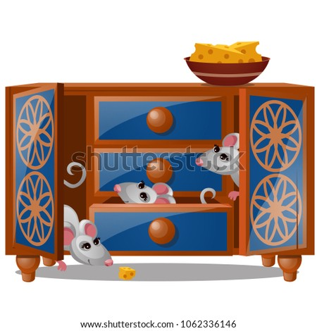 A cupboard with mouse and piece of cheese isolated on a white background. Vector cartoon close-up il Stock photo © Lady-Luck