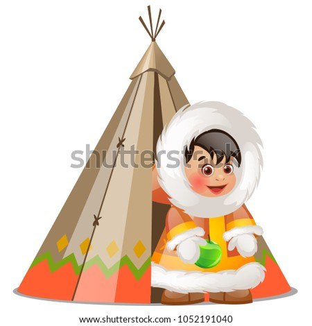Baby inuit holding a green apple and summer tent made of skins of seal isolated on white background. Stock photo © Lady-Luck