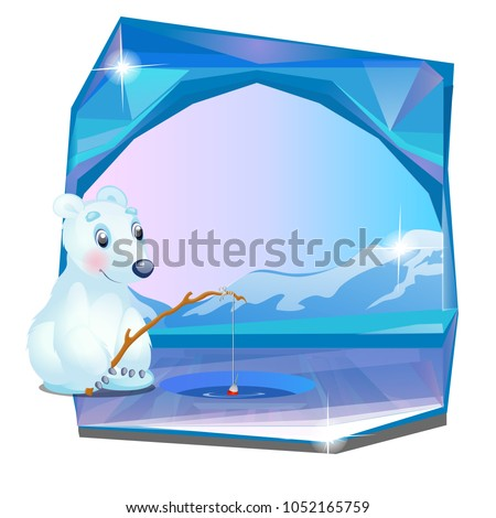 Cute picture of a polar bear fishing isolated on white background. Vector cartoon close-up illustrat Stock photo © Lady-Luck