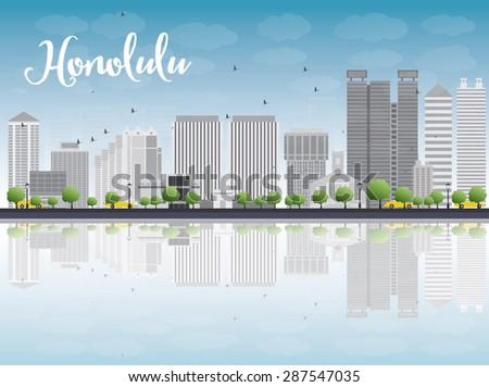 Honolulu Hawaii skyline with grey buildings, blue sky and copy s Stock photo © ShustrikS
