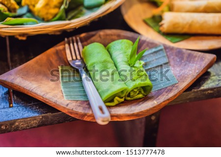 Dun groene gekleurd pannenkoek traditioneel Stockfoto © galitskaya