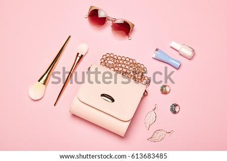Modny elegancki biżuteria makijaż produktów Zdjęcia stock © Anneleven