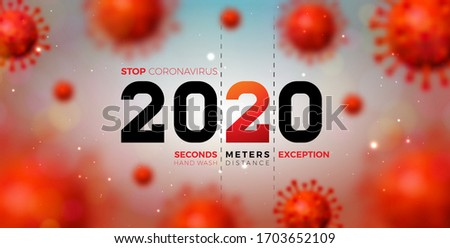 2020 Stop Coronavirus Design With Falling Covid 19 Virus Cell On Blue Background Vector 2019 Ncov C Stok fotoğraf © articular