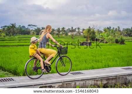 Mãe filho bicicleta arrozal bali viajar Foto stock © galitskaya