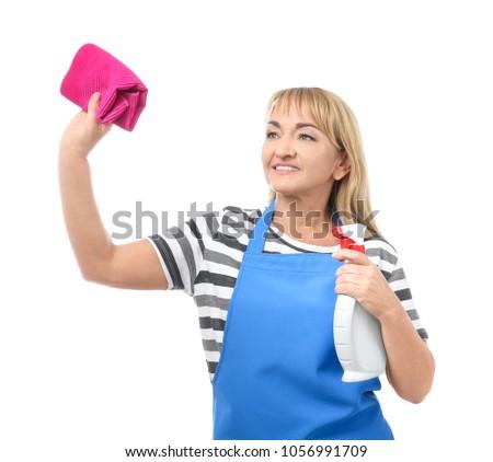 Mulher madura poeira casa vista lateral adulto senhora Foto stock © dashapetrenko