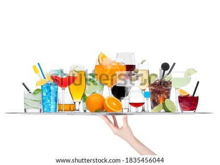 Hand holding tray with various cocktails with ice isolated on white.Blue lagoon, martini, negroni, m Stock photo © DenisMArt