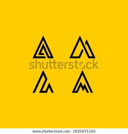 Triangle geometric letter M or AA, mountain adventure logo design. Stock Vector illustration isolate Stock photo © kyryloff