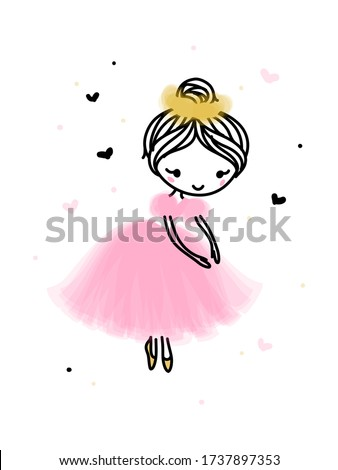 Cute dancing ballerina in pink transparent skirt. Editable stroke Stock photo © ussr