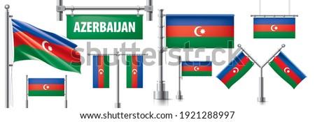 Vetor conjunto bandeira Azerbaijão criador Foto stock © butenkow