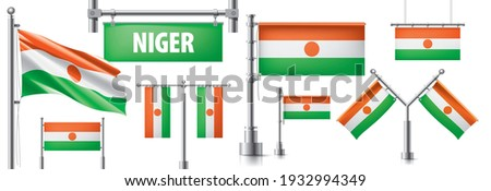 Vector set of the national flag of Niger in various creative designs Stock photo © butenkow