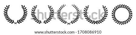 Establecer circular laurel heráldica recompensar logro Foto stock © designer_things