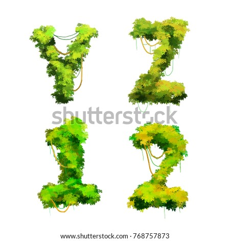 Cute cartoon tropical vines and bushes font on white, Y Z 1 2 glyphs Stock photo © evgeny89